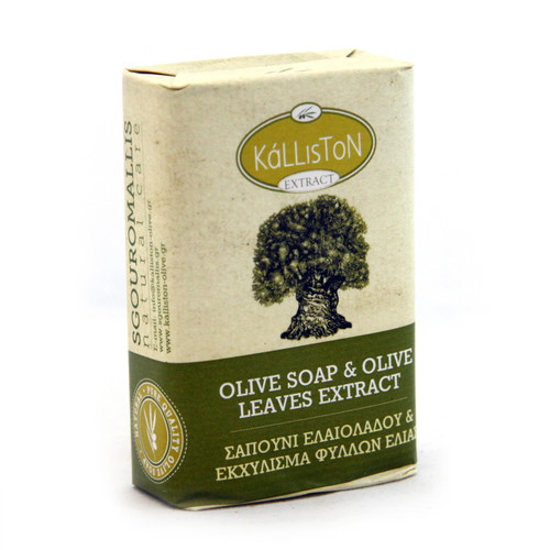 Olive Oil Soap with with Olive Leaf Extract  | All Natural | Made in Ancient Crete, Greece | 3.53 oz.