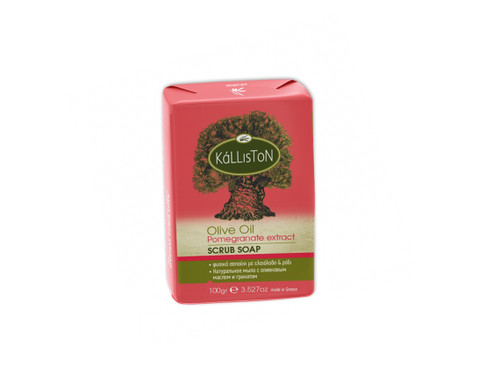 Olive Oil Soap Scrub with Pomegranate Extract & Aroma    All Natural   Made in Ancient Crete, Greece   3.53 oz.