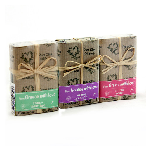 With Love Bow Olive Oil Soap 3 Pack | ASSORTED | All Natural | Assorted Aroma Fragrances | Made in Ancient Crete, Greece | 3 Soaps 3.53 oz. Each