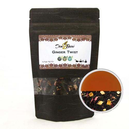 GINGER TWIST TEA | Loose Leaf Black Tea with Natural Ginger | Designer Resealable Pouch | 3.52 oz.