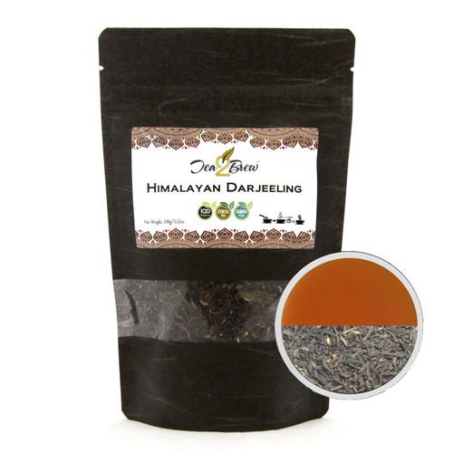 HIMALAYAN DARJEELING TEA | Loose Leaf Mountain Grown Black Tea | Designer Resealable Pouch | 3.52 oz.