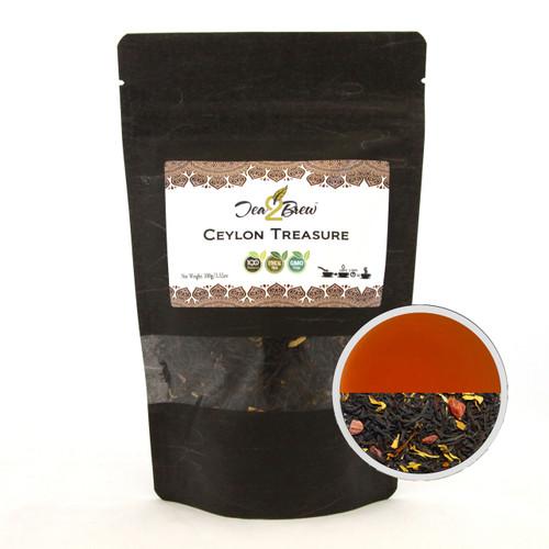 Ceylon Treasure Tea | Loose Leaf Ceylon Black Tea Natural Fruits and Exotic Flavors | Designer Resealable Pouch | 3.52 oz.