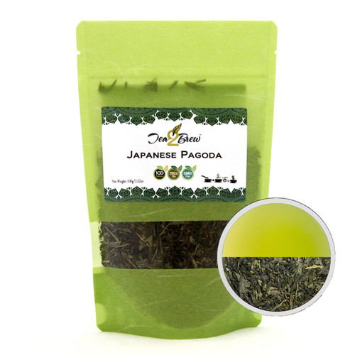 JAPANESE PAGODA TEA | Loose Leaf Sencha Green Tea | Designer Resealable Pouch | 3.52 oz.