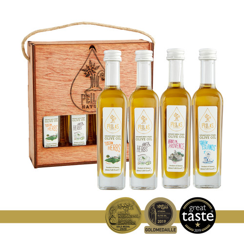 Pellas Nature, Organic Herb Infused Extra Virgin Olive Oil, Finishing Oil Herbs De Provence, Tuscan Herbs, Greek Islands, Wooden Gift Set, 4 X 1.7oz Bottles