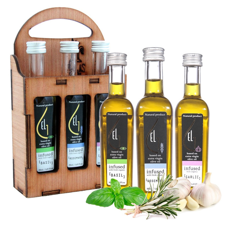 Pellas Nature, Organic Herb Infused Extra Virgin Olive Oil Set | Finishing Oils Basil, Rosemary, Garlic | Wooden Gift Set | Single Origin Greek | 3 X 1.7oz Bottles