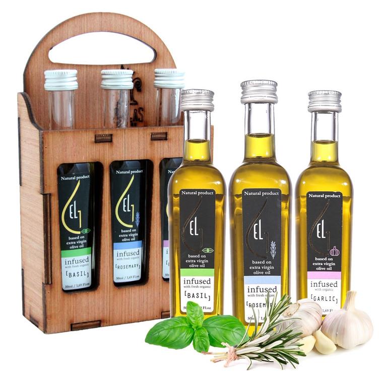 Pellas Nature, Organic Herb Infused Extra Virgin Olive Oil Set | Finishing Oils Basil, Rosemary, Garlic | Wooden Gift Set | Single Origin Greek | 3 X 1.7oz Bottles