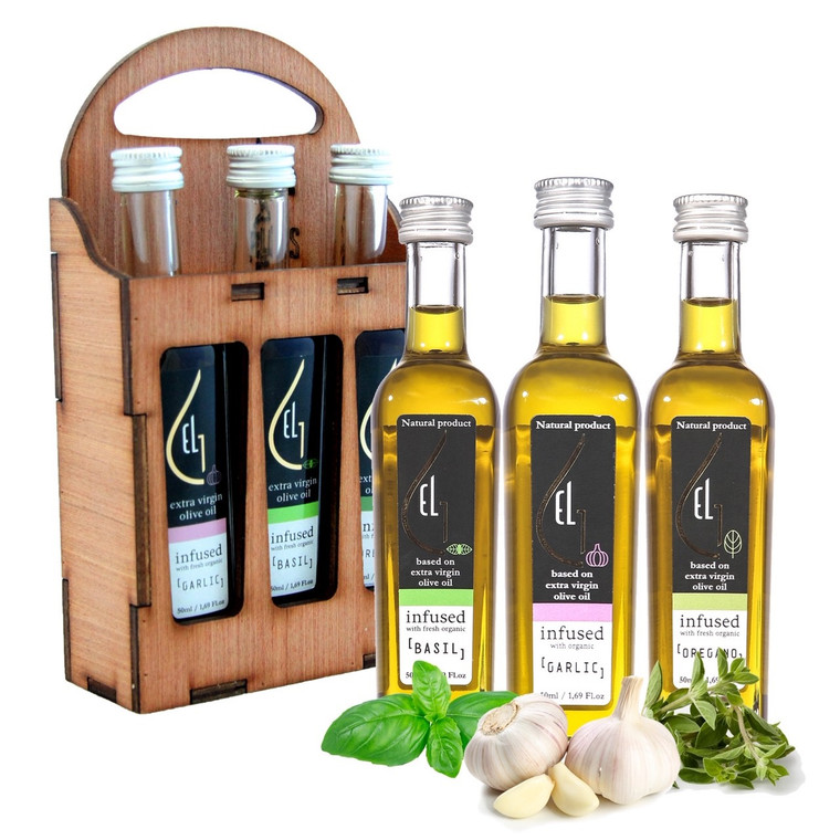 Pellas Nature Organic Herb Infused Extra Virgin Olive Oil Set | Finishing Oil Basil, Garlic, Oregano | Wooden Gift Set | Single Origin Greek | 3 X 1.7oz Bottles