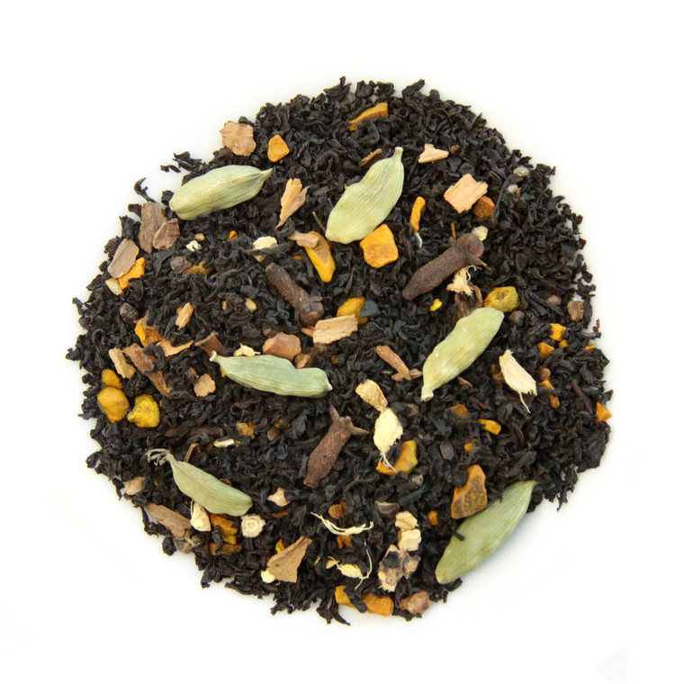 ORGANIC TURMERIC CHAI | Black Tea with Cardamon, Cloves, Cinnamon, & Turmeric Root | Wellness Tea Collection | 2.5 oz.
