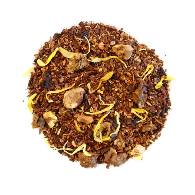 ORGANIC CARMALIZED PEAR TEA   Caffeine Free Herbal infusion with Rooibos, Honey bush, Pear and Apple   2 oz. Jar