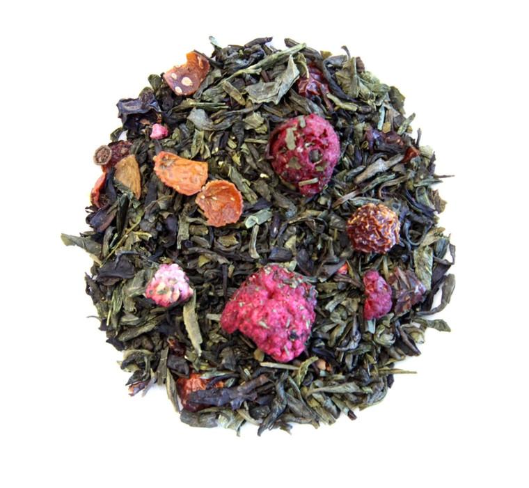 ORGANIC POMEGRANATE GREEN TEA   Green & Black Tea with Bits of Fruit   Wellness Tea Collection   2 oz. Jar