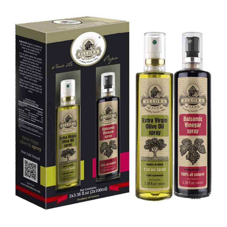 Ellora Farms   EVOO SPRAY GIFT SET   100% Pure and Traceable   Extra Virgin Olive Oil and Balsamic Vinegar in Spray Bottle Gift Pack   Born in Greece   3.38oz.X 2