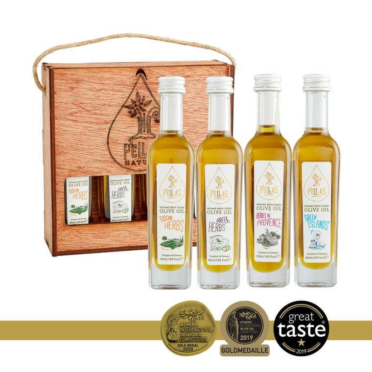 Pellas Nature Organic Herb Infused Extra Virgin Olive Oil Set | Finishing Oil Herbs De Provence, Tuscan Herbs, Greek Islands and Greek Salad | Wooden Gift Set | Single Origin Greek | 4 X 1.7oz Bottles