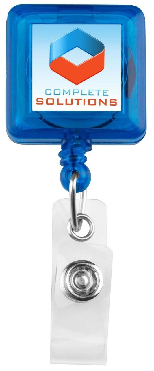 Square Plastic Badge Reel with vinyl strap
