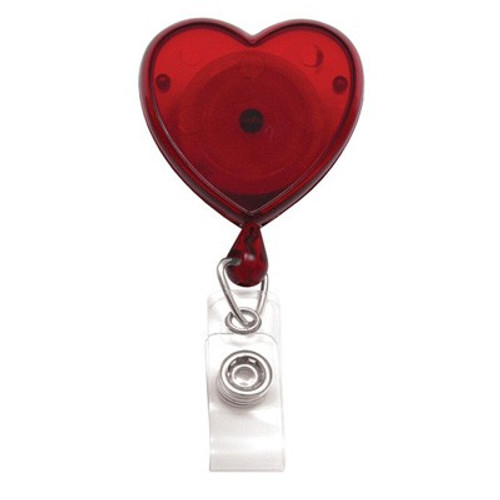 Translucent Red Heart-Shaped Badge Reel with Clear Vinyl Strap & Swivel Spring Clip (25/pk)