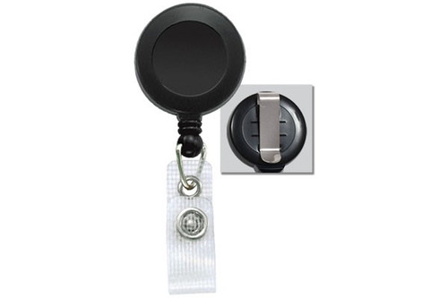 Black Badge Reel with Reinforced Vinyl Strap & Belt Clip (25/pk)