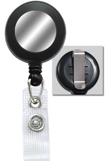 Black Badge Reel with Silver Sticker, Reinforced Vinyl Strap & Belt Clip (25/pk)