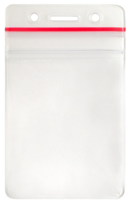 """506-ZNSJ Clear Vinyl Vertical Badge Holder with Resealable Closure, Slot and Chain Holes, 2.25"""" x 3.25"""" (1000/pk)"""