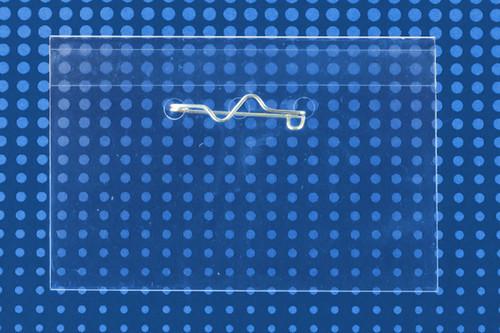 "Clear Rigid Vinyl Horizontal Name Tag Holder with Pin Back 3.5"" x 2.125"" (100/pk)"