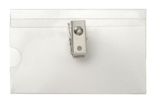 "Clear Rigid Vinyl Horizontal Name Tag Holder with 2-Hole Clip, 3.5"" x 2"" (100/pk)"
