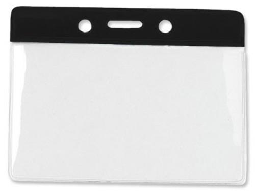 "Clear Vinyl Horizontal Badge Holder with Black Color Bar, 3.85"" x 2.68"" (100/pk)"