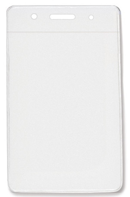 "Clear Vinyl Vertical Badge Holder with Clear Color Bar, 3.75"" x 2.63""(100/pk)"