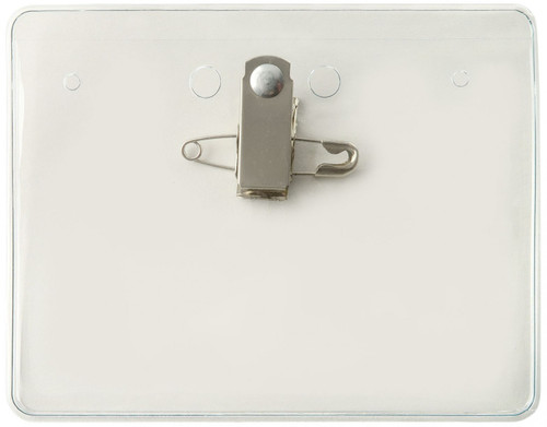 """Clear Vinyl Horizontal Holder with Pin-Clip Combo 4"""" x 3"""" (100/pk)"""