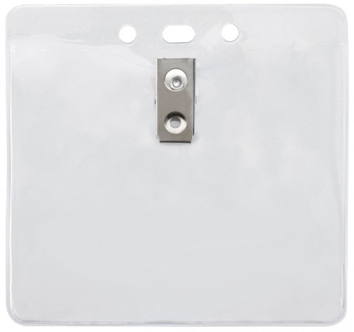 """Clear Vinyl Horizontal Badge Holder with Clip and Slot and Chain Holes, 4"""" x 3.3"""" (100/pk)"""