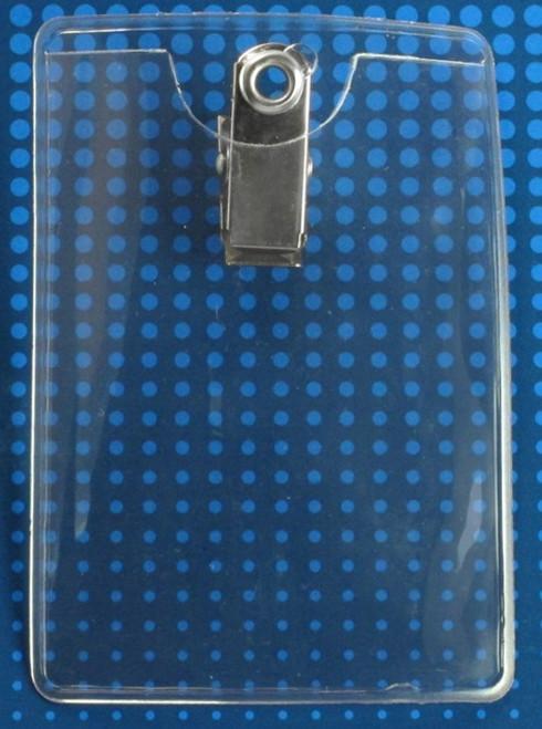 """Premium Vinyl Vertical Clip-on Badge Holder, 2-3/8"""" x 3-3/8"""" (100/pk)"""