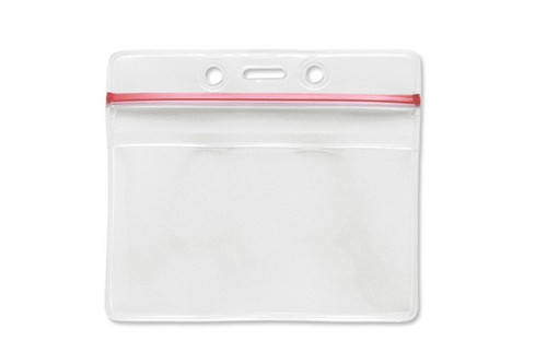 "Clear Vinyl Horizontal Badge Holder with Resealable Top, 3.63"" x 2.75"" (100/pk)"
