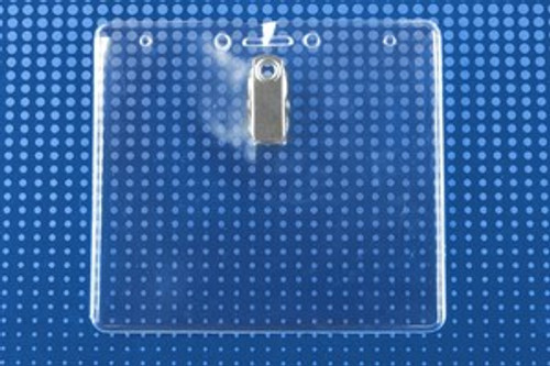 "Clear Vinyl Horizontal Badge Holder with Clip, Slot and Chain Holes 4"" x 3"" (100/pk)"