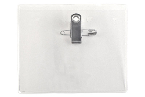 "Clear Vinyl Horizontal Badge Holder with Pin/Clip Combo 3.63"" x 3.48"" (100/pk)"