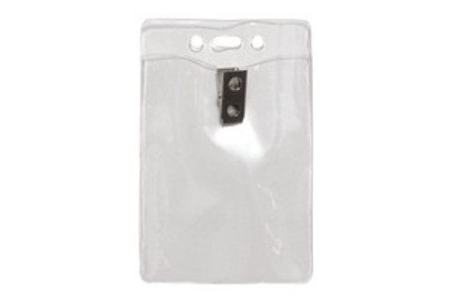 "Clear Vinyl Vertical Badge Holder with Clip and Slot and Chain Holes 3"" x 4"" (100/pk)"