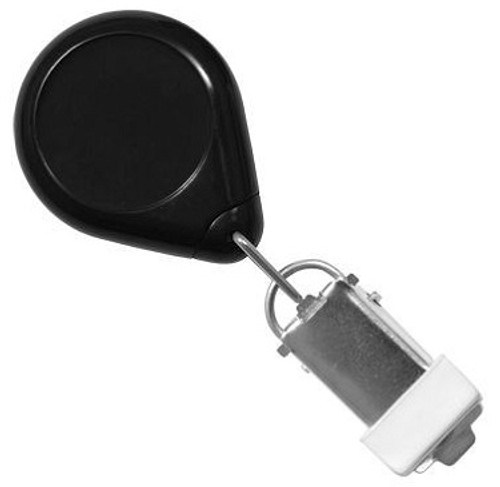 Black Premium Badge Reel With Card Clamp And Swivel Clip (25/pk)