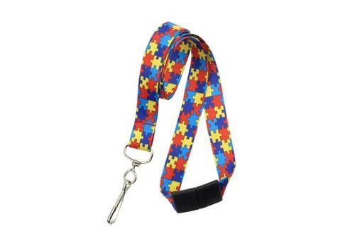 Autism Awareness Lanyard - Red/Yellow/Blue/Navy (100/pk)