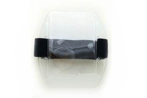 "504-ARNB Clear Vinyl Vertical Arm Band Badge Holder with Blue Strap, 4.38"" x 2.5"" (25/pk)"