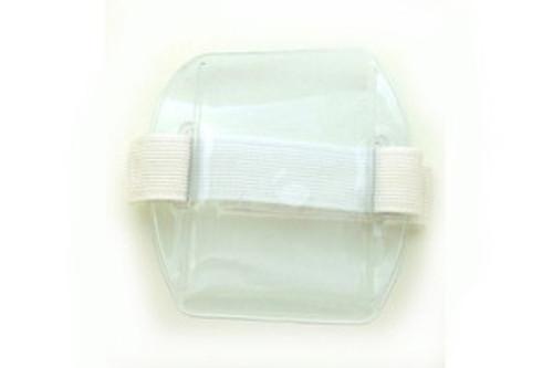 "504-ARNW Clear Vinyl Vertical Arm Band Badge Holder with White Strap, 2.38"" x 3.38"" (25/pk)"