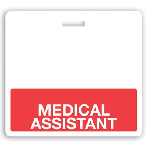 "Horizontal ""MEDICAL ASSISTANT"" Badge Buddies with Red bar, 3.38"" x 3.09"" (25/pk)"