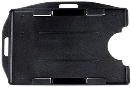 "1840-3101 Black Rigid Plastic Horizontal Open-Face 2-Card Holder, 2.13"" x 3.38"" (50/pk)"