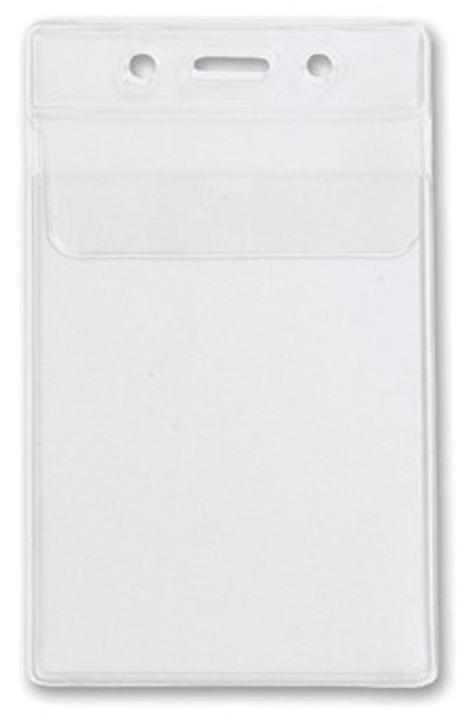 """1840-5150 Clear Vinyl Vertical Badge Holder with Fold-Over Flap, 2.63"""" x 3.7"""" (100/pk)"""