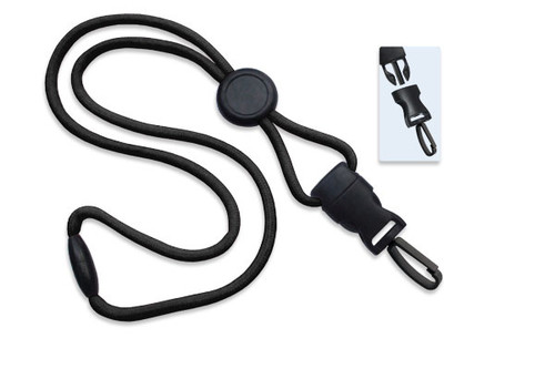 "1/4"" (6 mm) Lanyard with Round Slider & DTACH Plastic Swivel Hook (100/pk)"
