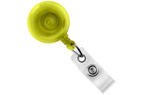 Translucent Yellow Round Badge Reel With Strap And Slide Clip (25/pk)