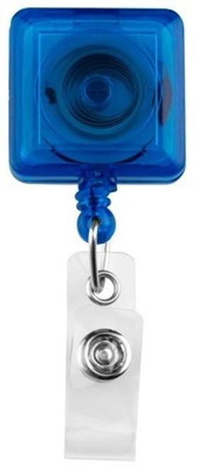 Translucent Blue Square Badge Reel with Clear Vinyl Strap & Belt Clip (25/pk)