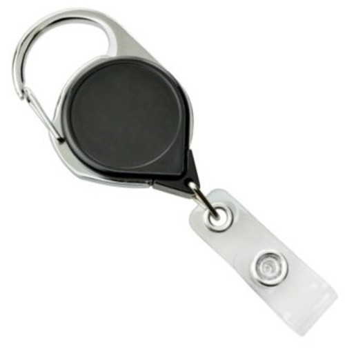 Black Carabiner Badge Reel with Strap and Clip (25/pk)