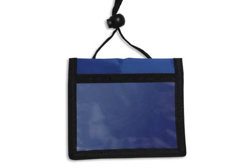 1860-2602 Blue 3-Pocket Credential Wallet with Adjustable Neck Cord (25/pk)