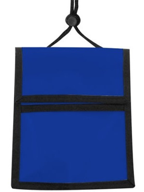 1860-3002 Blue Nylon Multi-Pocket Credential Wallet with Neck Cord (25/pk)