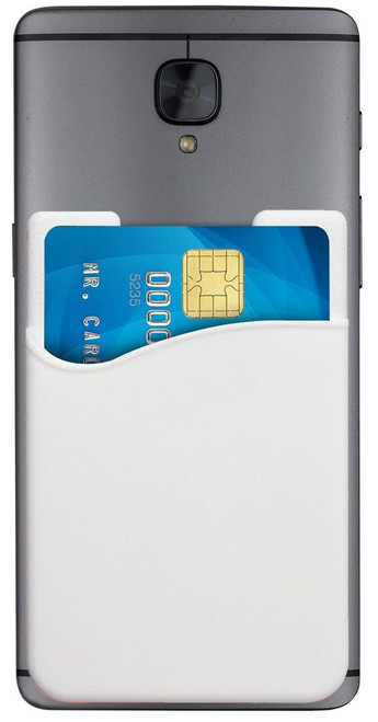 1860-5008 White Silicone Cell Phone Wallet (100/pk)