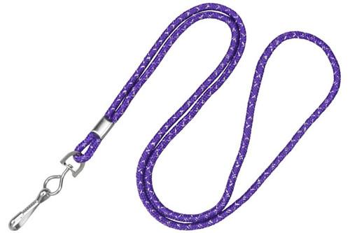"1/8"" Purple & Silver Metallic Lanyard with Swivel-Hook (100/pk)"