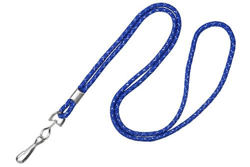 """1/8"""" Royal Blue & Silver Metallic Lanyard with Swivel-Hook (100/pk)"""