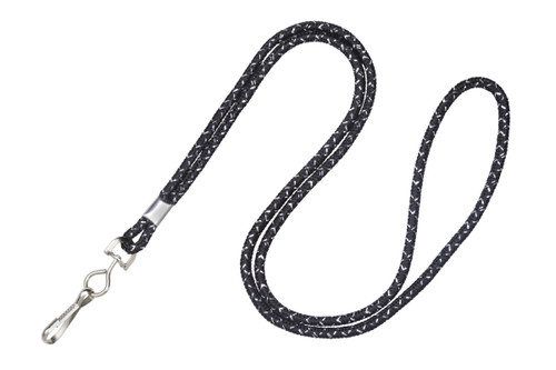 """1/8"""" Black & Silver Metallic Lanyard with Swivel-Hook (100/pk)"""