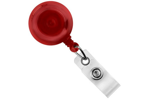 Translucent Red Round Badge Reel With Strap And Slide Clip (25/pk)